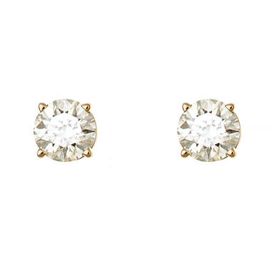 1.95 CT.T.W. Round Diamond Stud Earrings in 14K Yellow Gold (H-I, SI2)