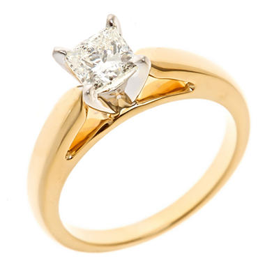 0.96 CT. Princess-Cut Diamond Solitaire Ring in 14K Yellow Gold (I, I1)