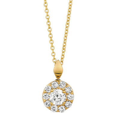 0.50 CT. T.W. Round-Cut Diamond Halo Pendant in 14K Yellow Gold (I, I1)