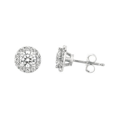 1.00 CT. T.W. Round-Cut Diamond Halo Earrings in 14K White Gold (I, I1)