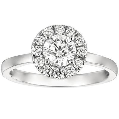 1.00 CT. T.W. Round-Cut Diamond Halo Ring in 14K White Gold (I, I1)