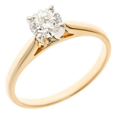 0.72 CT. Round-Cut Diamond Solitaire Ring in 14K Yellow Gold (H-I, SI2)