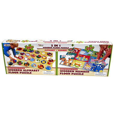 Giant Wooden Floor Puzzle 2 pk. - ABC & Numbers
