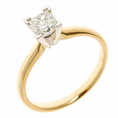 0.72 CT. Princess-Cut Diamond Solitaire Ring in 14K Yellow Gold (H-I, SI2)