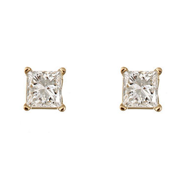 1.95 CT.T.W. Princess-Cut Diamond Stud Earrings in 14K Yellow Gold (H-I, SI2)