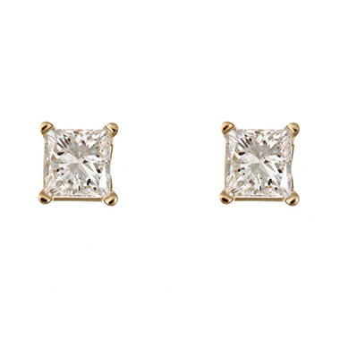 0.96 CT.T.W. Princess-Cut Diamond Stud Earrings in 14K Yellow Gold (H-I, SI2)