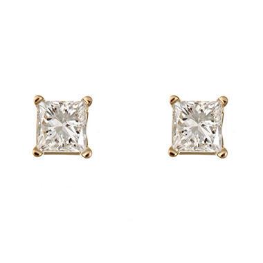 1.45 CT.T.W. Princess-Cut Diamond Stud Earrings in 14K Yellow Gold (I, I1)