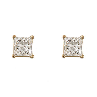 1.45 CT.T.W. Princess-Cut Diamond Stud Earrings in 14K Yellow Gold (I, I1)