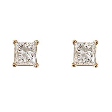 0.72 CT.T.W. Princess-Cut Diamond Stud Earrings in 14K Yellow Gold (I, I1)