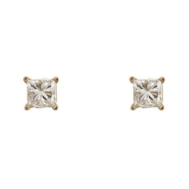 0.23 CT.T.W. Princess-Cut Diamond Stud Earrings in 14K Yellow Gold (I, I1)