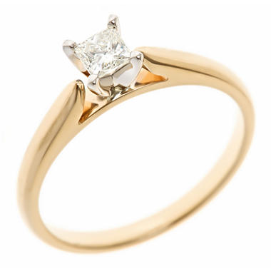 0.31 CT. Princess-Cut Diamond Solitaire Ring in 14K Yellow Gold (H-I, SI2)