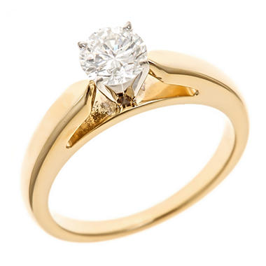 0.96 CT. Round-Cut Diamond Solitaire Ring in 14K yellow Gold (I, I1)
