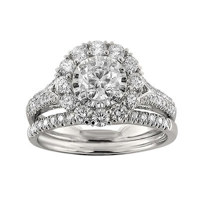 Christopher Designs 1.70 CT. TW. Round Diamond Halo Bridal Set in 14K White Gold (I, I1)