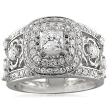 Christopher Designs 2.00 CT. TW. Princess-cut and Round Diamond Ring in 14K White Gold (I, I1)