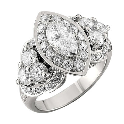 Christopher Designs 2.39 CT. TW. Marquise and Round Diamond Band in 14K White Gold (I, I1)