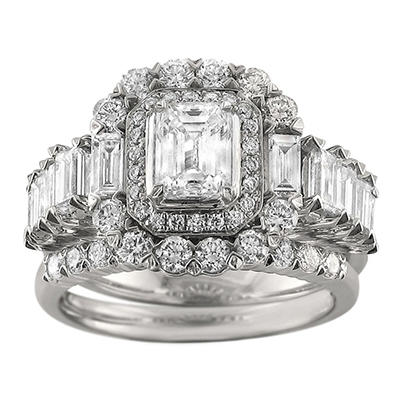 Christopher Designs 2.90 CT. TW. Emerald, Baguette and Round Cut Diamond Bridal Set in 14K White Gold (I, SI2-I1)