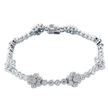 2.0 ct. t.w. Diamond Flower Station Bracelet in 14K White Gold (I, I1)