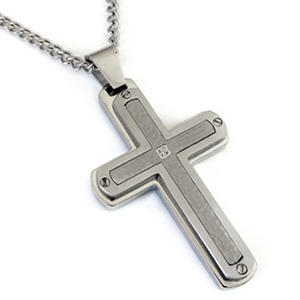 "Stainless Steel Diamond Cross with 24"" Curb Link Chain"