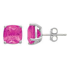7mm Pink Topaz Cushion-Cut Stud Earrings in 14K White Gold