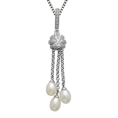 Freshwater Cultured Pearl Tassel Pendant with 0.07 CT. T.W. Diamonds in Sterling Silver