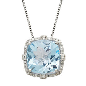 12mm Sky Blue Topaz Pendant  with 0.17 CT. T.W. Diamonds in Sterling Silver