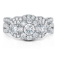 1.96 CT. TW. Diamond Wedding Ring Set in 14K White Gold (I, I1)
