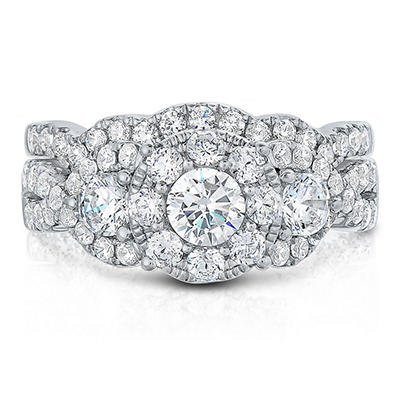 1.96 CT. TW. Diamond Bridal Set in 14K White Gold (I, I1)