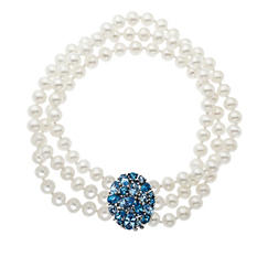 Triple-Row 5mm Freshwater Pearl and Blue Topaz Bracelet in Sterling Silver