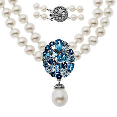 Two-Row 5mm Freshwater Pearl and Blue Topaz Necklace in Sterling Silver