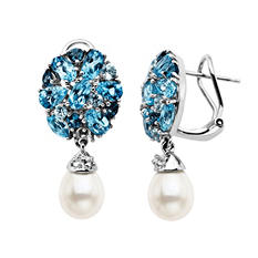 9/7mm Freshwater Pearl and Blue Topaz Earrings in Sterling Silver