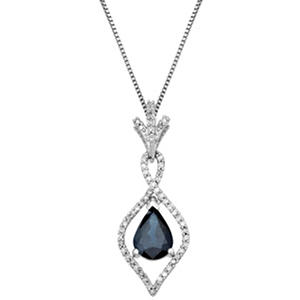 1.00 CT. Sapphire Pendant with 0.15 CT. T.W. Diamonds in 14K White Gold