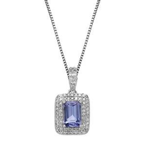 0.62 CT. Tanzanite Pendant with 0.21 CT. T.W. Diamonds in 14K White Gold