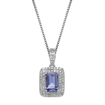 0.62 CT. Tanzanite Pendant with 0.21 CT. T.W. Diamonds in 14K White Gold
