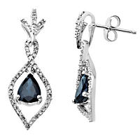 1.36 CT. Sapphire Earrings with 0.26 CT. T.W. Diamonds in 14K White Gold