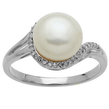 9mm Freshwater Cultured Pearl Ring with Diamond Accents in 14K White Gold