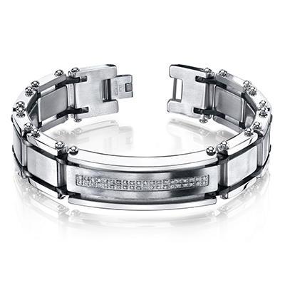 Men's .20 CT. T.W. Diamond Bracelet in Stainless Steel