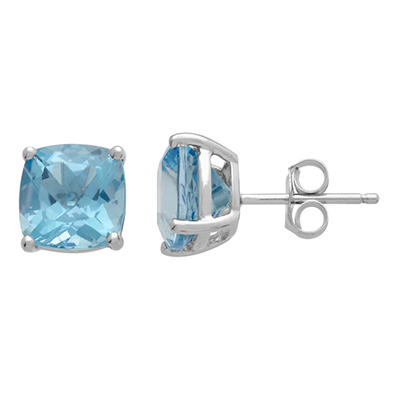 7mm Blue Topaz Cushion-Cut Earrings in 14K White Gold