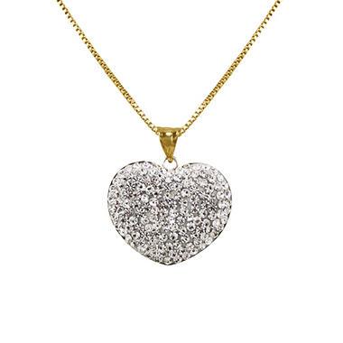 Reversible Swarovski Crystal Heart Pendant in Sterling Silver