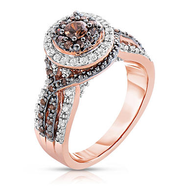 0.72 CT. TW. Amour Chocolat Diamond Ring in 14K Rose Gold (H-I, I1)