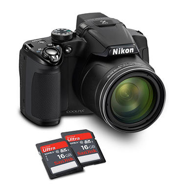 *$347.00 after $30 Instant Savings* Nikon Coolpix P510 16.1MP Digital Camera with 42x Optical Zoom  and 2 16GB Class 10 SDHC Cards