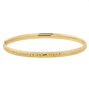 "7"" Crystal Cut Bangle in 14K Yellow Gold"