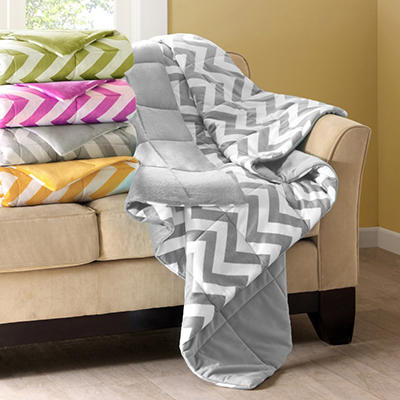 Micro Mink Down Alternative Filled Chevron Throw -  Various Colors