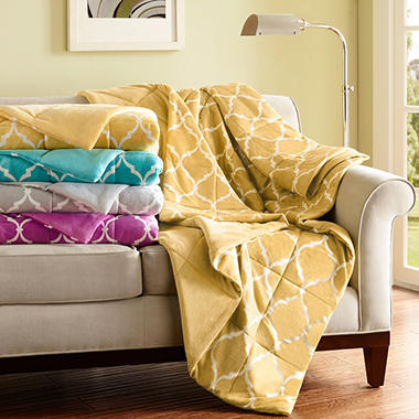 Micro Mink Down Alternative Filled Ogee Throw - Various Colors