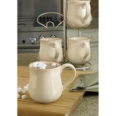 Fireside Mugs 4-Piece Set with Cradle
