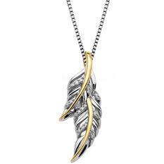 Feather Pendant with Diamond Accent in Sterling Silver and 14K Yellow Gold (H-I, I1)
