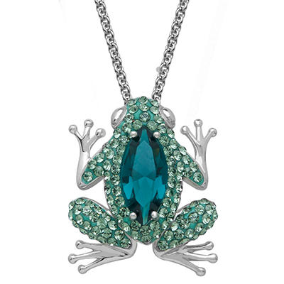 Green Crystal Frog Pendant in Sterling Silver