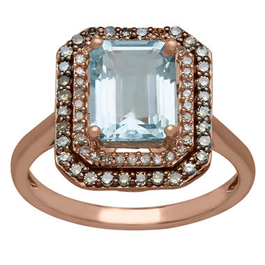 1.68 CT. Aquamarine and 0.30 CT. T.W. White and Brown Diamond Ring in 14K Pink Gold