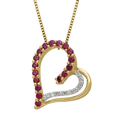 0.27 CT. Lab Ruby with Diamond Accent Heart Pendant in 14K Yellow Gold