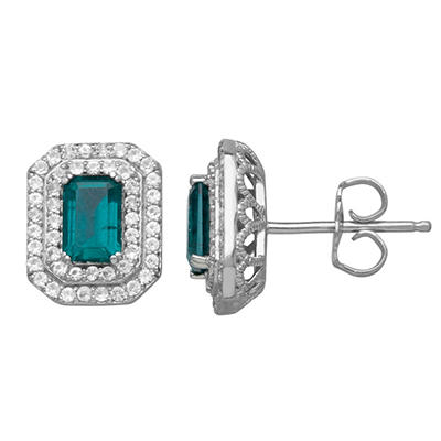 0.88 CT. Lab Emerald and 0.38 CT. T.W. Lab White Sapphire Earrings in Sterling Silver