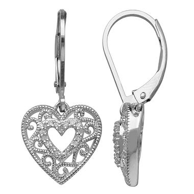 0.19 CT. T.W. Diamond Heart Necklace and Earring Set in Sterling Silver (H-I, I1)